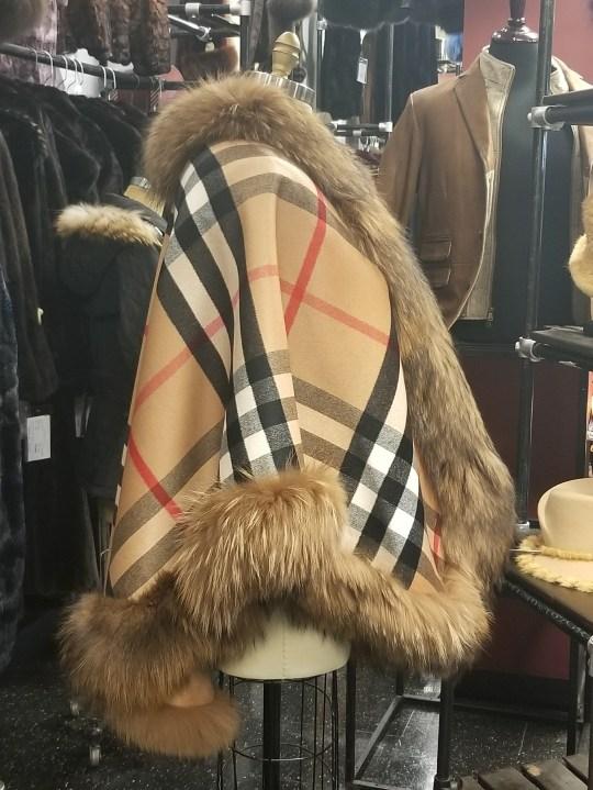 Terra-Cotta Cashmere Cape W/Fur Trim