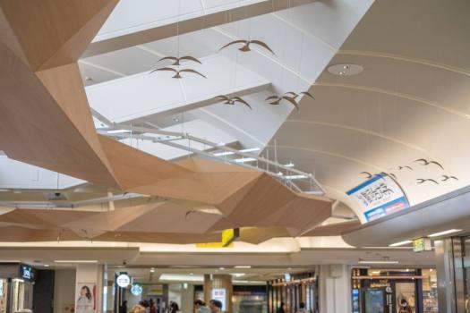 飯能駅の天井の鳥のオブジェ