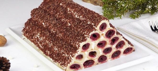 Торт из слоеного теста вишневый. Слоеный торт с вишней. Красивое оформление и подача торта с вишней