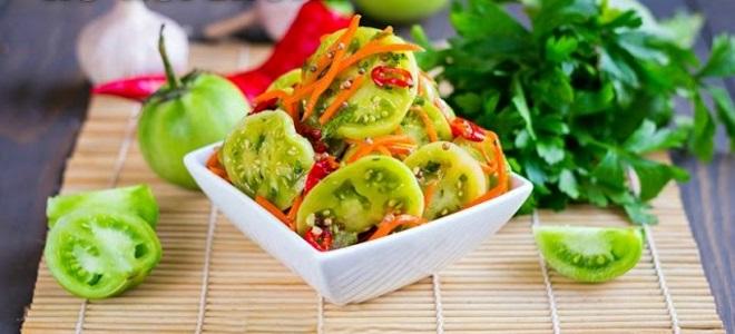 მწვანე პომიდვრის სალათი ქილებში