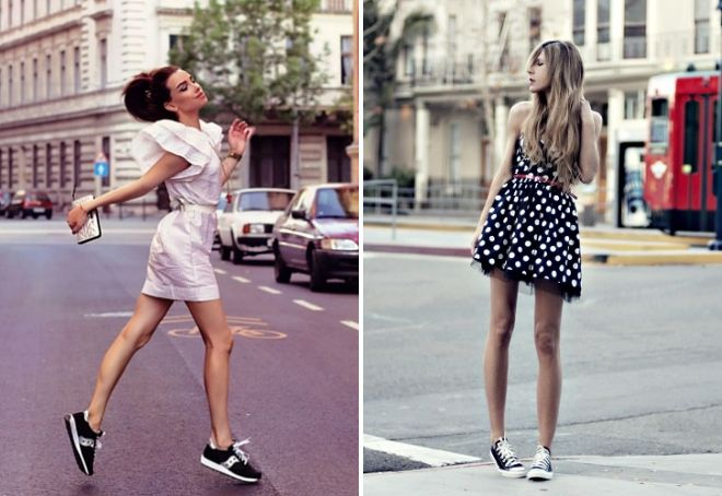mini dress with sneakers