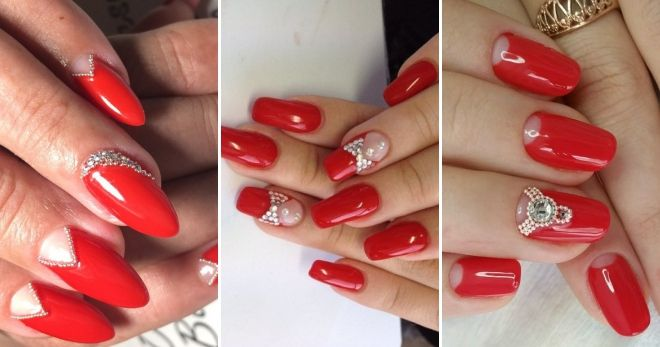 Red manicure with silver bouillons