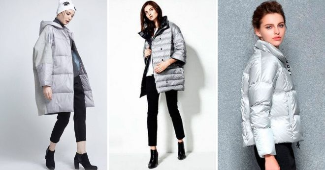 What can I wear with a gray short down jacket oversized