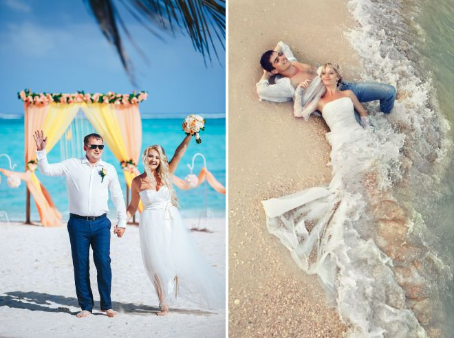 beach wedding image of the bride and groom