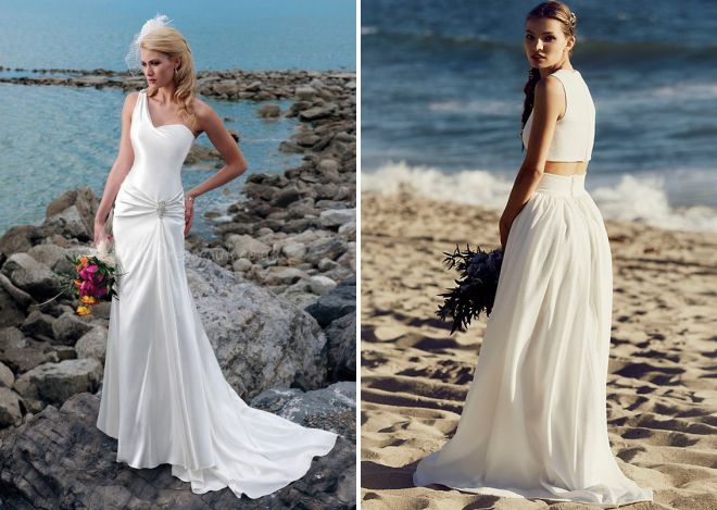 beach wedding dress to the floor