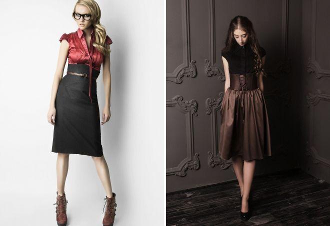 skirt with corset belt