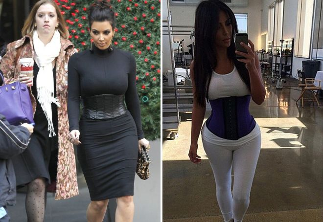 belt corset on Kim Kardashian