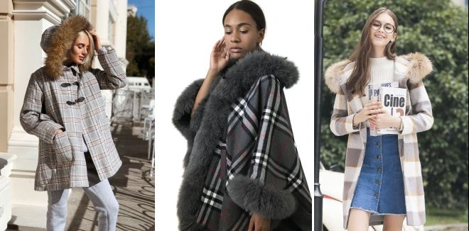 Checked coat with fur hood