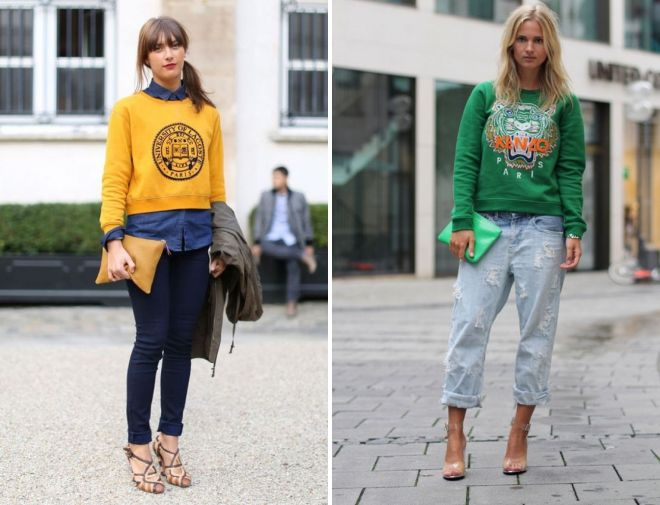 what to wear with a female sweatshirt