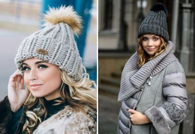 knitted hat with fur pompon