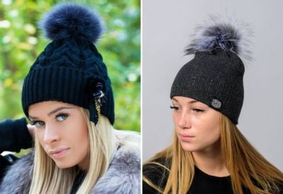 winter hats with a fur pompon