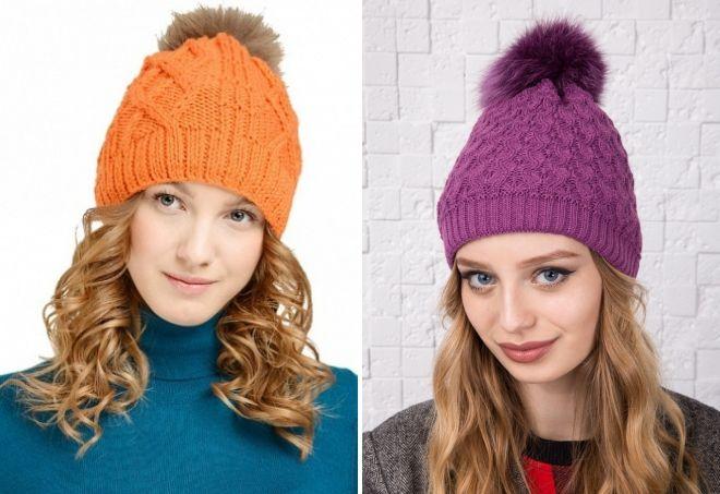 fashion hats with fur pompon