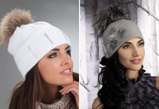 hat with rhinestones and fur pompon