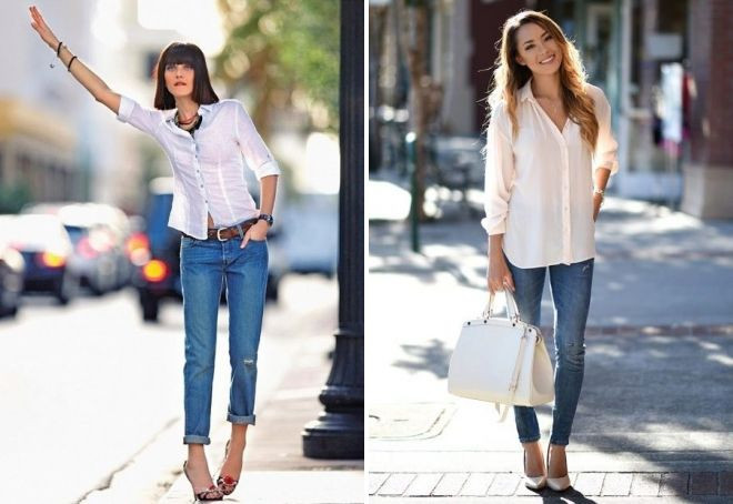 jeans shirt and heels
