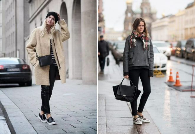 what to wear with slip-ons in winter
