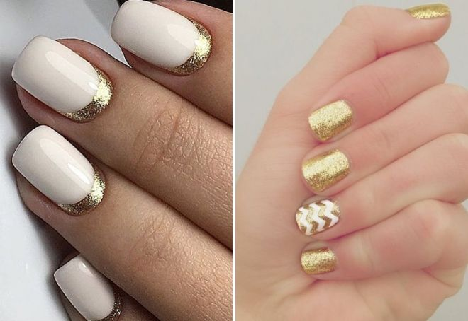 white manicure with gold sparkles