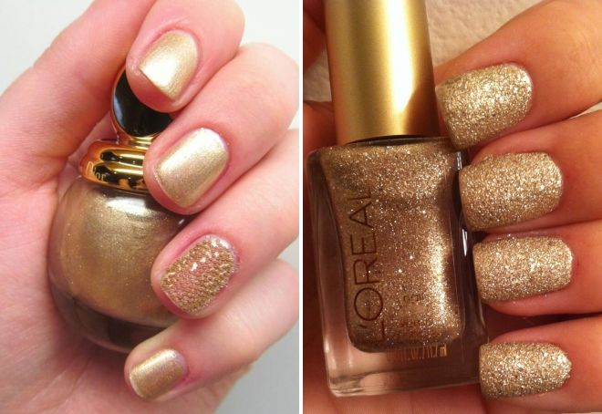 manicure with golden sparkles