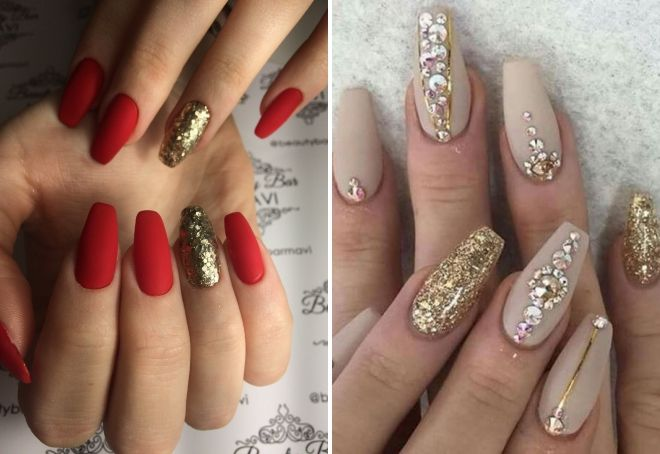 manicure with gold glitter on long nails