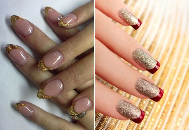 manicure ideas with gold sparkles