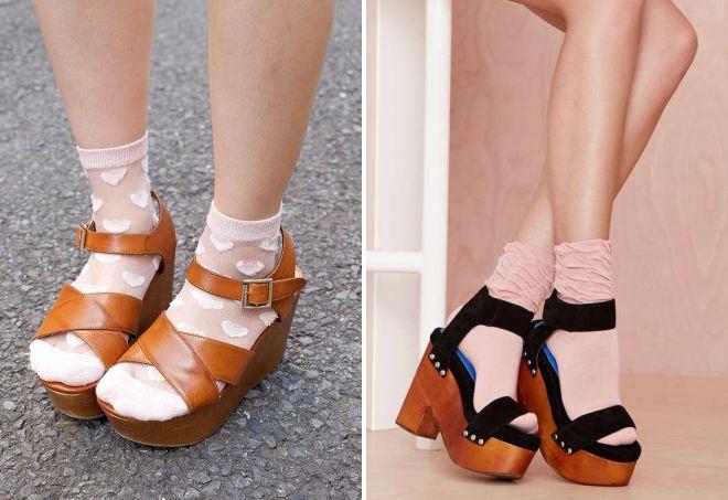 sandals on a platform with socks