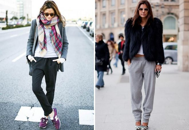 what to wear with female joggers in winter