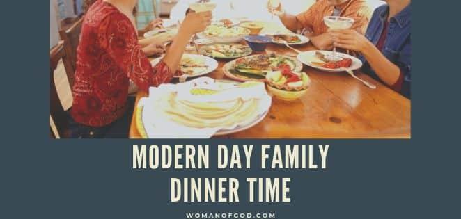 Modern Day Family Dinner Time -