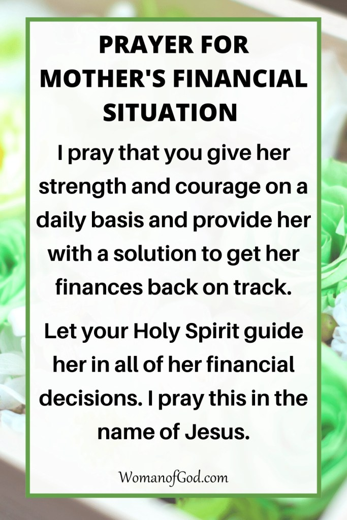 Prayer For Mother's Financial Situation
