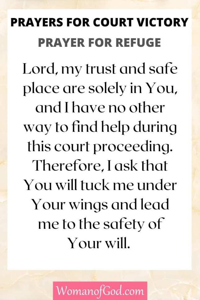 Prayers for Court Victory Prayer For Refuge