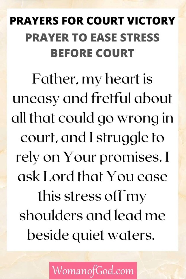 Prayers for Court Victory Prayer To Ease Stress Before Court