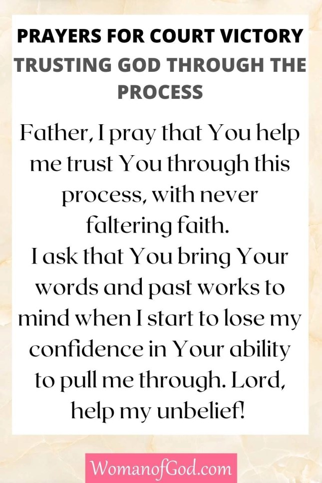 Prayers for Court Victory Trusting God Through The Process