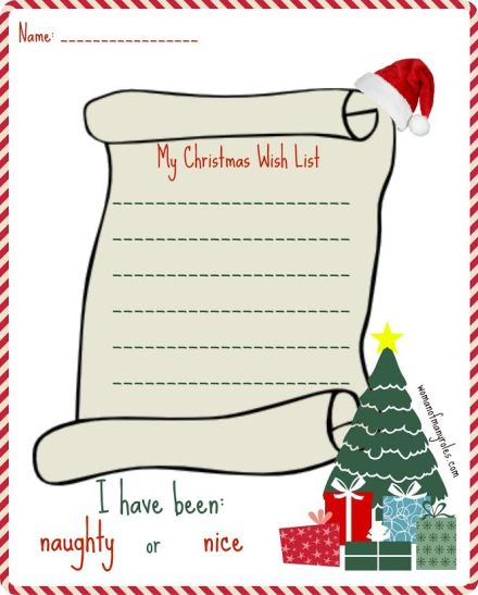 Christmas Wish List Printable