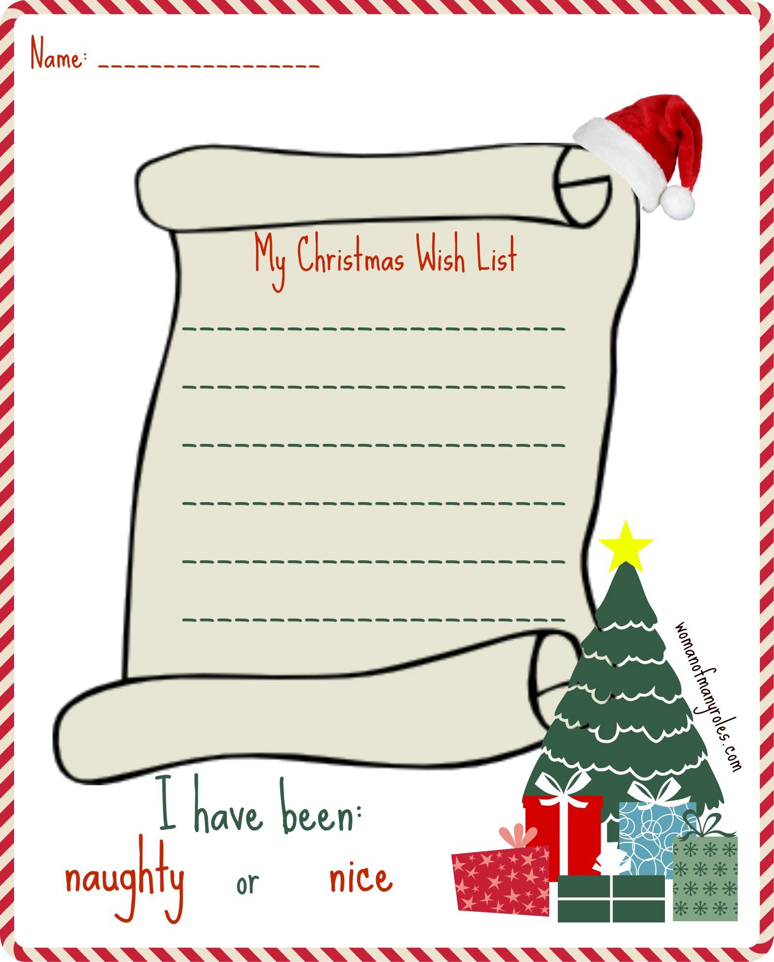 My Christmas Wishlist Printable Woman Of Many Roles