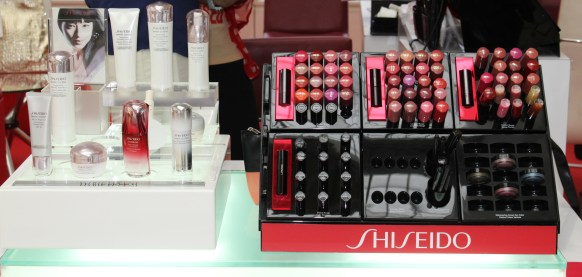 The Shiseido products on display.