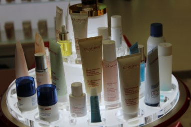 Clarins products at display,
