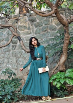 Long green gown - Indian Fashion Blogger
