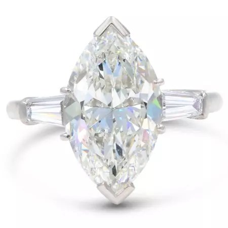 Rachel Koen Three Stone 5.40ct Marquise Diamond Engagement Ring