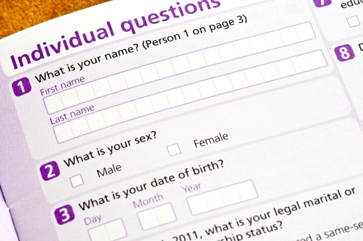 Picture of UK Census questionnaire question on sex