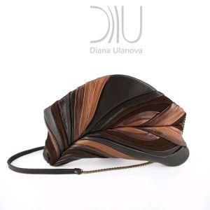 Clutch Bag Design. Feather Clutch Black Brown by Diana Ulanova. Buy on women-bags.com