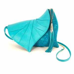 Designer Clutch Purses. Leaf Drop Light Blue 2 by Diana Ulanova. Buy on women-bags.com
