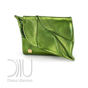 Leather Designer Purse. Leaf Wallet Green Metallic by Diana Ulanova. Buy on women-bags.com