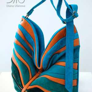 Designer Shoulder Bags For Women. Palmetto Blue/Orange by Diana Ulanova. Buy on women-bags.com