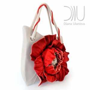 Ladies Designer Handbag. Poppy White 3 by Diana Ulanova. Buy on women-bags.com