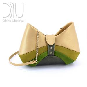 Shoulder Bag Designer. Bow Beige Green by Diana Ulanova. Buy on women-bags.com