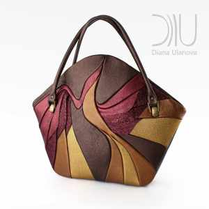 Designer Top Handle Bag. Paradise Bird Brown/Red/Gold by Diana Ulanova. Buy on women-bags.com