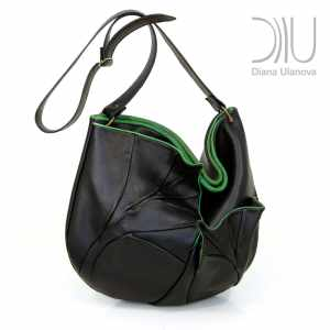 Designer Shoulder Bags For Women. Leaves Black Green by Diana Ulanova. Buy on women-bags.com