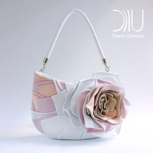 Designer Shoulder Bags. Rosette White/Pink by Diana Ulanova. Buy on women-bags.com