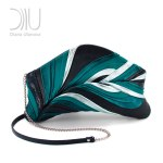 Feather clutch Black Green