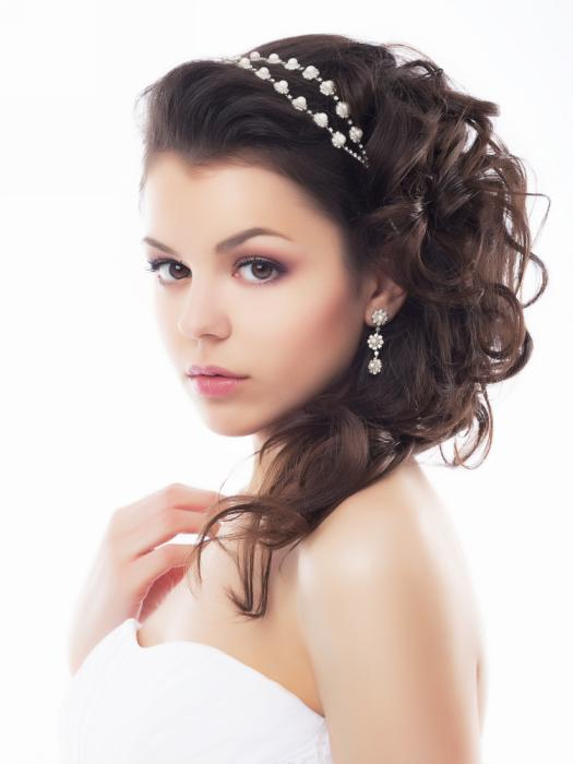 Brown Hair Half Up Half Down Curly Wedding Hair Style With