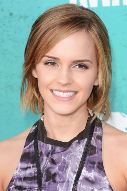 Emma Watson Low Maintenace Choppy Bob Hairstyle Women