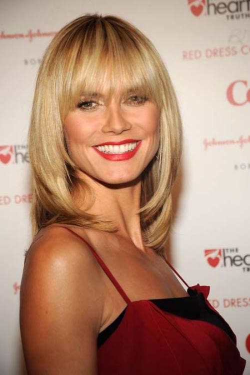 Best Celebrity Blunt Bangs Heidi Klum Women Hairstyles